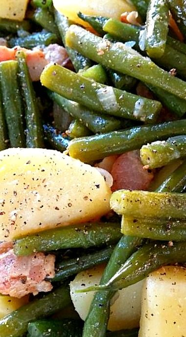 Southern Style Green Beans & Potatoes with Bacon cooked low and slow (recipe includes both stove-top and crock pot instructions) ❊