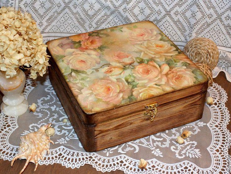 """Купить """"Акварельные розы"""" Большая шкатулка - Декупаж, подарок, разноцветный, шкатулка, шкатулка декупаж"""