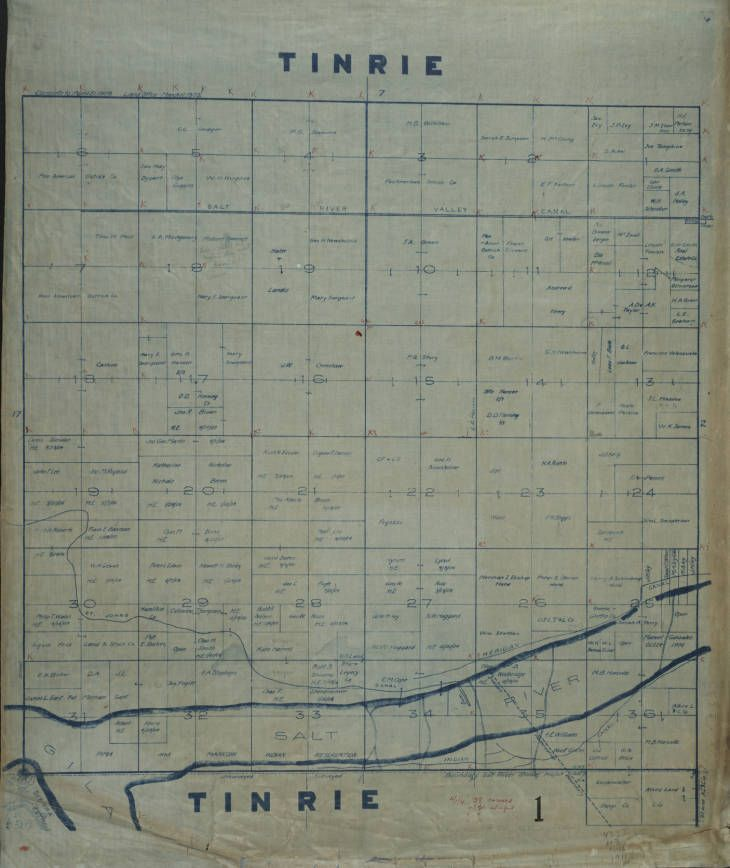 Map Of Arizona Land Ownership.1911 Maricopa County Arizona Land Ownership Plat Map T1n R1e Mr