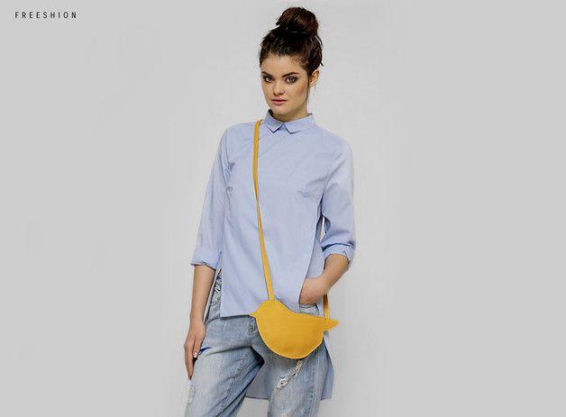 Shoulder Bags – FreeBag Birdy - skórzana torba żółty ptaszek – a unique product by Freeshion on DaWanda
