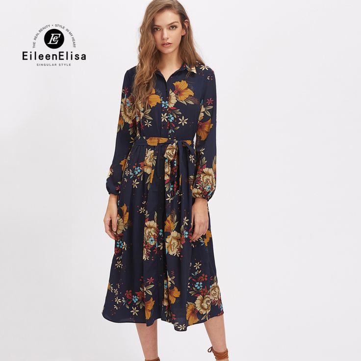 Printed Runway Dress Vintage Women Midi Dress Elegant Long Sleeve Runway  Spring Dresses 2017-in