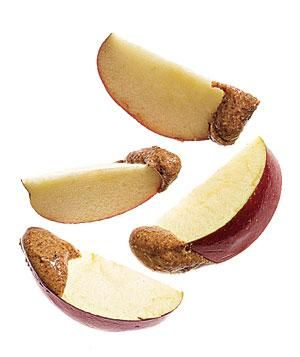 snack of apple and almond nut butter
