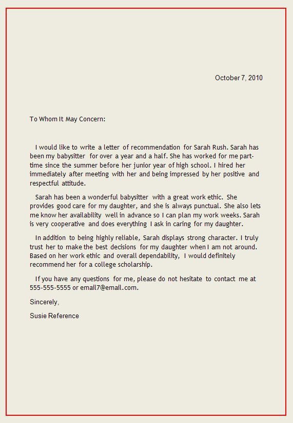 Personal Letter of Recommendation | reference letter1 Writing a Reference Letter