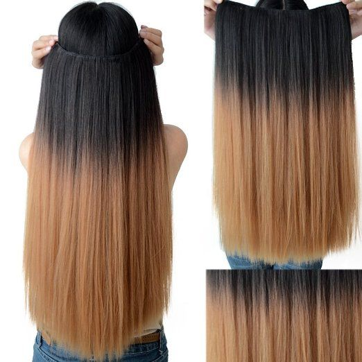 Neverland #Beauty 24'' #Ombre #Dip-dye Color Clip in #Straight Thick #Hair #Extension Style 1