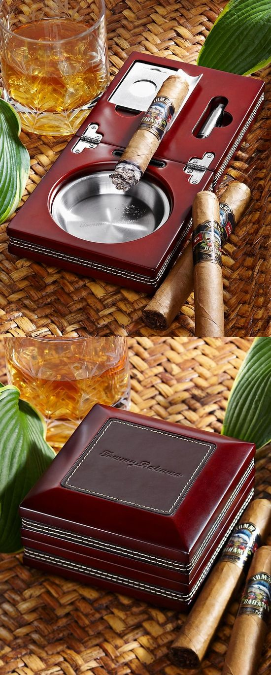 Wood and Leather Folding Ashtray from http://www.tommybahama.com... and women never know what to buy for their guys... hello! Prefect.