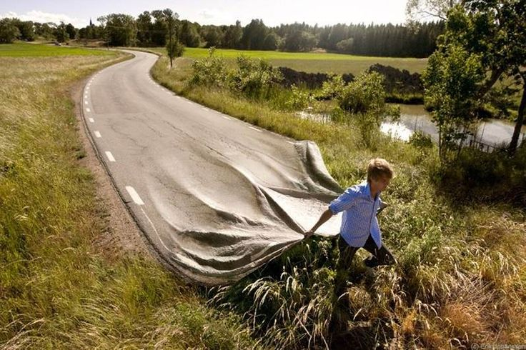 I wonder what the meaning of this image is supposed to be. Really nice tie between the road and the fabric. It's a really good transition between the two.