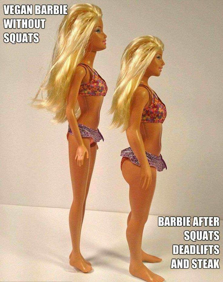 Barbie vegetariana que no hace Squats,  La Barbie después de hacer Squats, Peso muerto y comer un Bistec 🦁😁😂👍💪