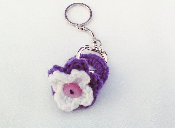Purple Crochet keychain Crochet flower ring key by HandmadeTrend, $10.00