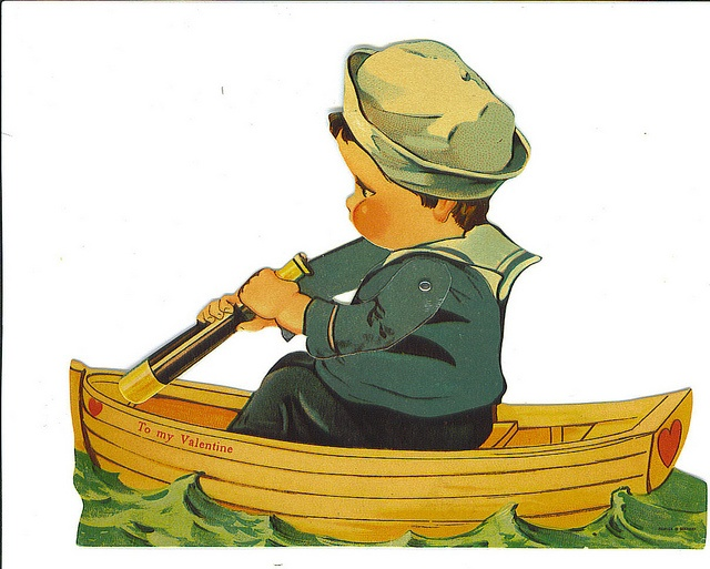 To My Valentine (little boy in boat) card by Tommer G, via Flickr