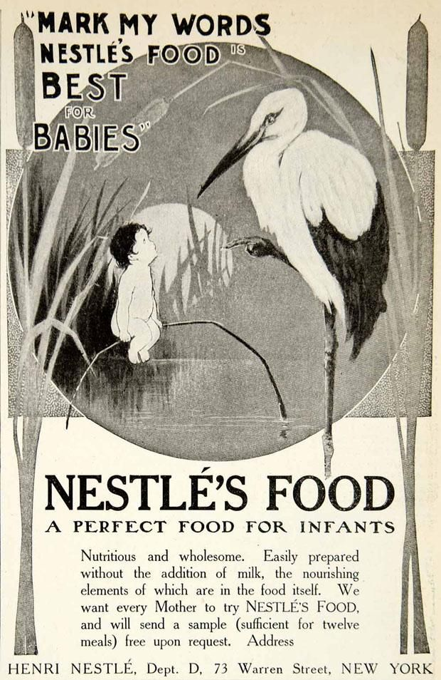 INFANT FORMULA  One of the most successful was Henri Nestlé. A German pharmacist living in Switzerland, who would one day help revolutionize the chocolate business, he used wheat flour, milk, and sugar for his Farine Lactée Henri Nestlé (Henri Nestlé's Milk Flour) released in 1867. Whereas most formula was difficult for babies to digest, Nestlé was able to remove the starch and acid from the flour to make it easier on little tummies, which helped make it a favorite.
