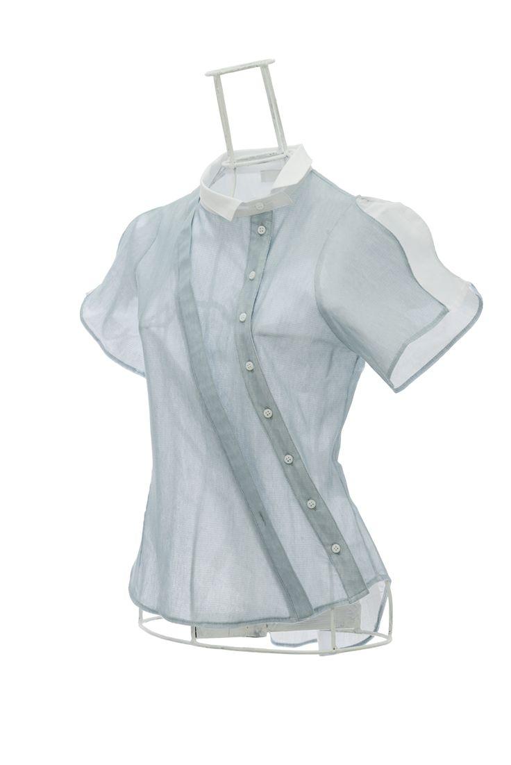 Collection OKADA Subtile Chemise femme cintrée en voile blanc et tulle turquoise AGUETTI Ken Okada Ken Okada http://shop.ken-okada.com/fr/8-okada-l-art