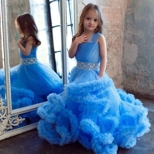 Blue Solid Party Wear Gown For Girl #Gown #Blue