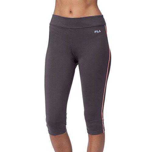 Women's Fila Side Piped Tight Capri - Ebony/Fiery Coral Athletic Capris -  My Running Deals