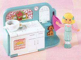 """Flip 'n Fancy :: Playsets [Ghost Of The Doll] """"The Cook and Clean playset has a cabinet that flips down to become an ironing board, a stove that folds down to become a washer and dryer, and turning windows with two different scenes."""""""