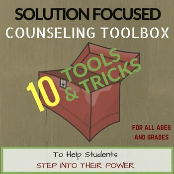 "Expand your school counseling go-to interventions, tools & ""tricks""! Inspired by Solution Focused Therapy, this School Counselor Toolbox features (more than) 10 engaging developmentally appropriate tools that can used with students to help them recognize their strengths, resiliencies, hopes, & possibilities in the face of whatever challenges they are experiencing."