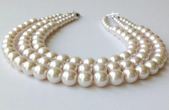 Chunky Pearl Necklace Multistrand Pearl Necklace by PolishedPlum, $44.00