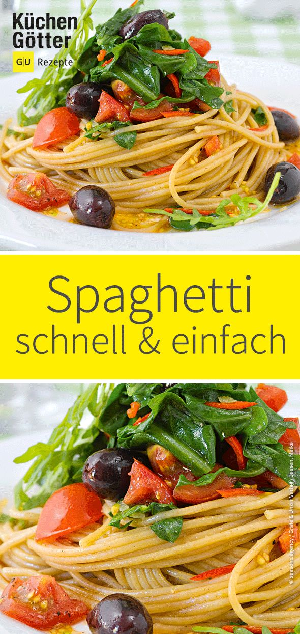 Spaghetti with rocket and black olives   – Rezepte mit Rucola