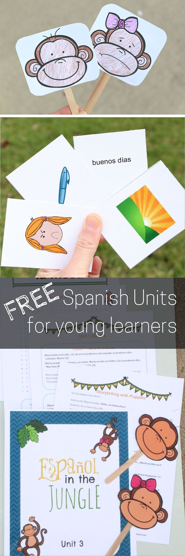 Free Spanish Units you can download! There are currently three available, and start at the very beginning, with games, activities, printables, and more. Best for early elementary.