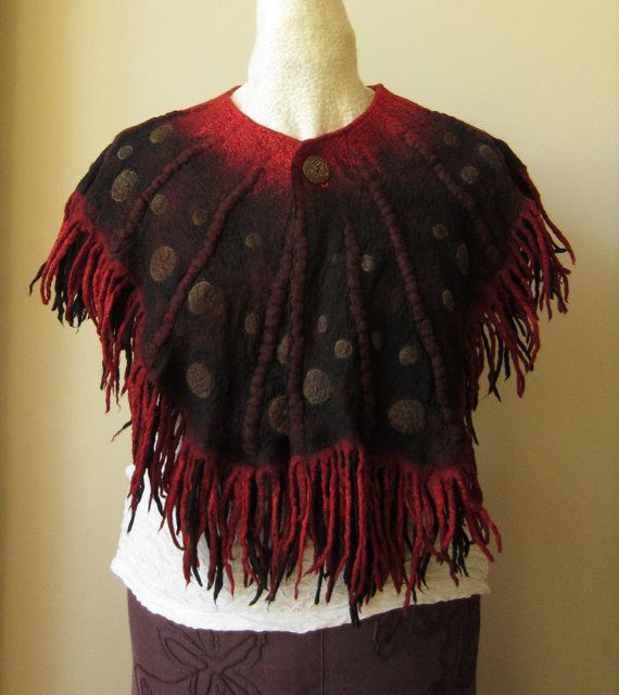 Striking red and black, nuno-felt cape / capelet / wrap, hand-made by Teri Berry