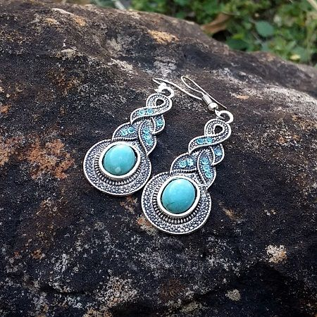 Antiqued Silver Plated Cerulean Blue and Turquoise Tribal Plait Earrings