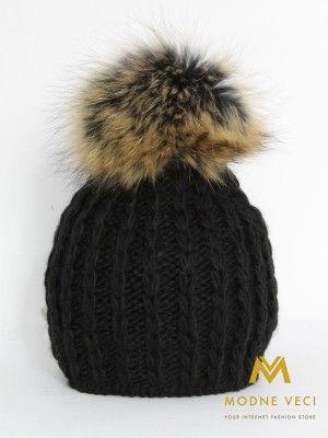 Dámska čiapka s bambuľou z pravej kožušiny 3087/73
