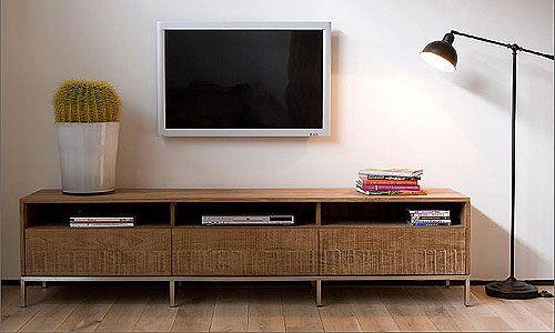 Salones de diseno - Mueble de TV en Teca Natural, Artespana - Mueble de television en teca natural, con 2 cajones, de medidas: 141 x 45 x 51h o 3 cajones, 210 x 45 x 51h.