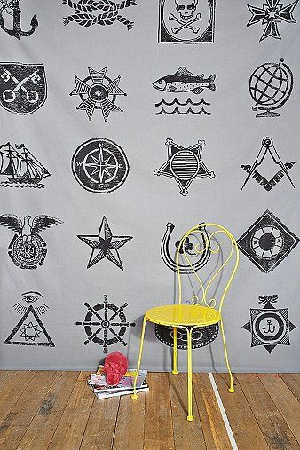 Sea Symbols Tapestry Throw in White - Urban Outfitters