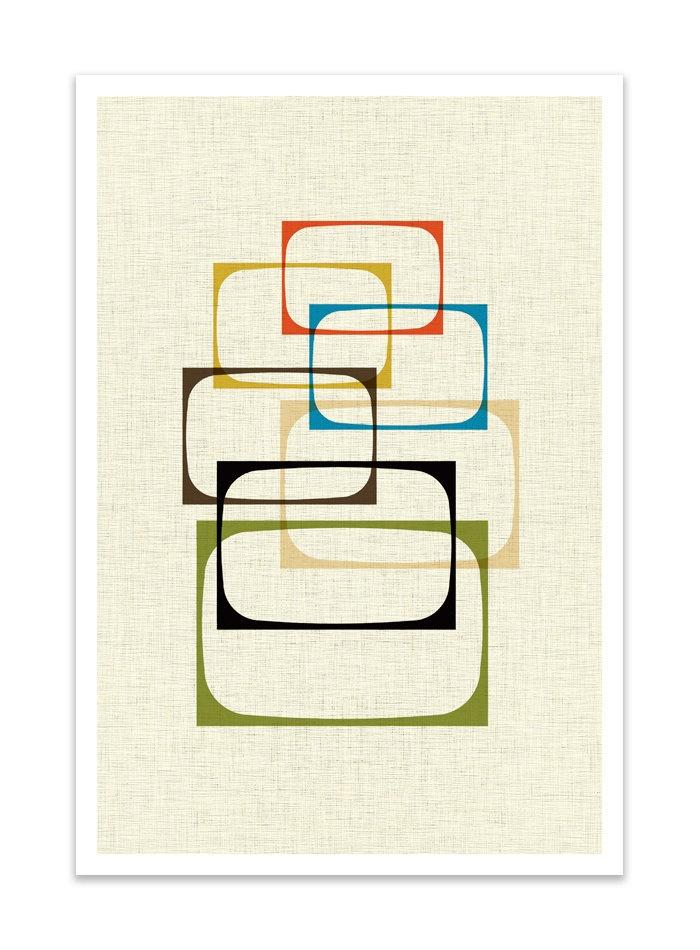 SHOW - Giclee Print - Mid Century Modern Danish Modern Minimalist Cubist Modernist Eames Abstract. $24.00, via Etsy.