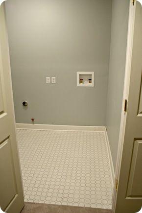 Pebble beach benjamin moore light gray laundry room for Laundry room floor tile