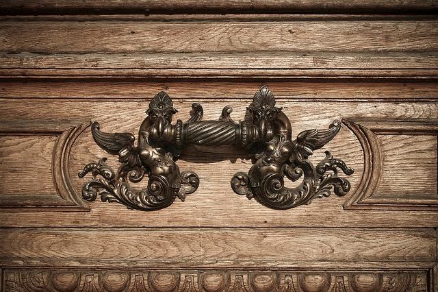 Romanian Atheneum (door detail) by Dominuz, via Flickr