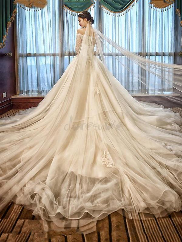 Doresuwe.com SUPPLIES 2016 新品 オフショルダー 袖付きの高級レース ロングドレス 花嫁ドレス ウェディングドレス ウェディングドレス-2016