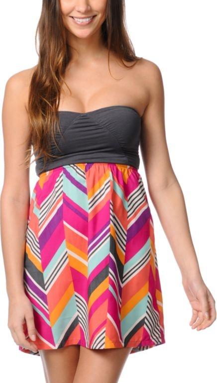 Roxy Savage 2 Fuschia Print Strapless Dress