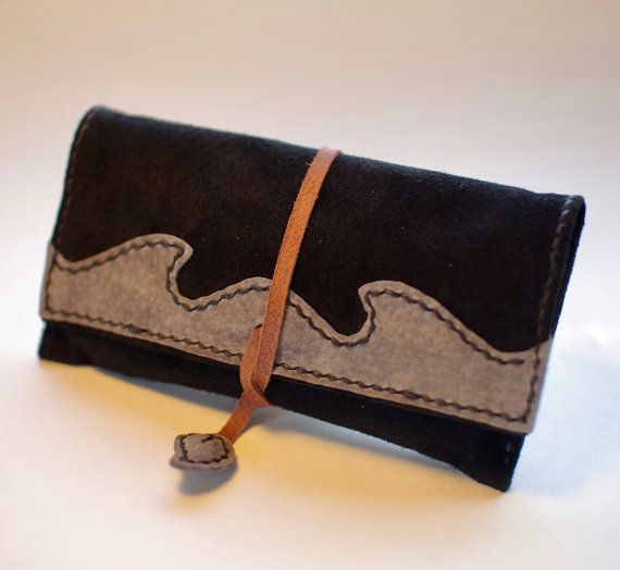 Leather Tobacco Pouch Color: Black & Grey by TheRoadie on Etsy