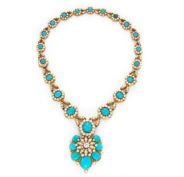Van Cleef & Arpels  A Turquoise, Diamond and  Gold Necklace, circa 1965