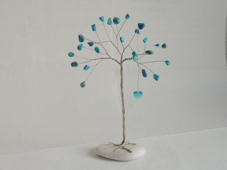 Blue howlite tree ornament, Turquoise howlite gemstone tree, tree of life desk decor, Blue swarovski heart tree ornament, tree sculpture by AbssOluto on Etsy
