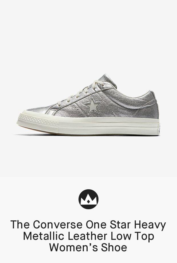 7ac8523d155c The Converse One Star Heavy Metallic Leather Low Top Women s Shoe  women   shoes  metallic  shoe  silver