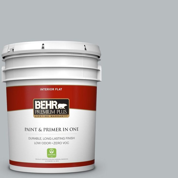 BEHR Premium Plus 5 gal. #PPU18-05 French Silver Zero VOC Flat Interior Paint