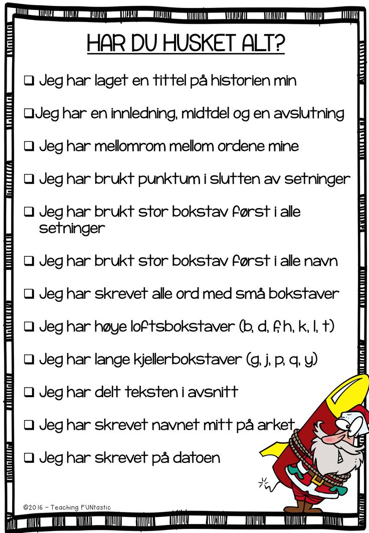Sjekkliste for skriving