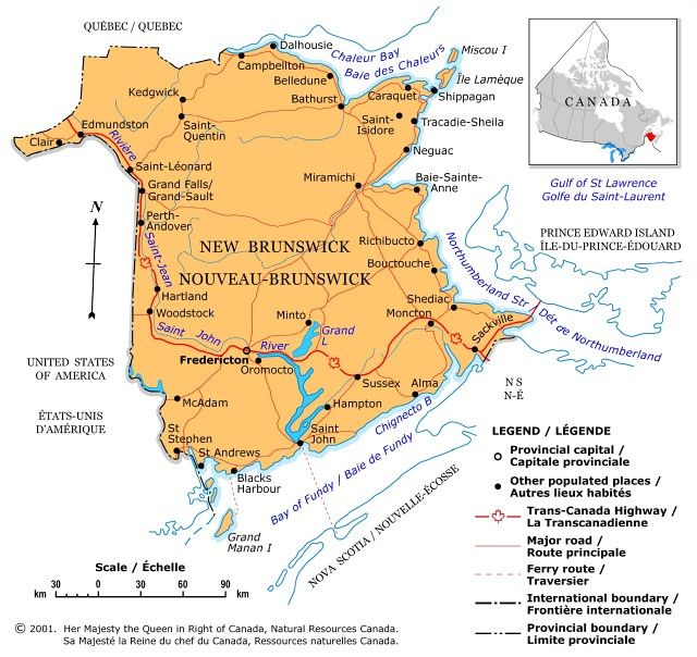 New Brunswick - A political map of New Brunswick showing boundaries, the provincial capital, selected populated places with names, selected drainage with names and selected roads.