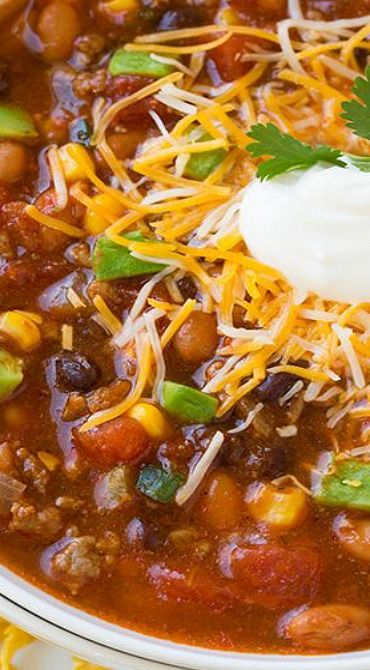 Taco Soup-Use turkey instead of beef, chicken broth and skip the ranch dip mix.