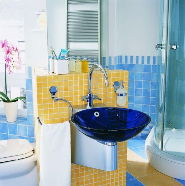 waschbecken design badezimmer blau transparent