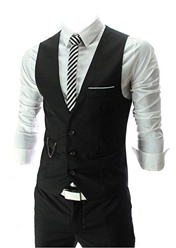 QinYing V-neck Sleeveless Slim Fit Jacket Men Business Su... http://a.co/8HBFL7Q