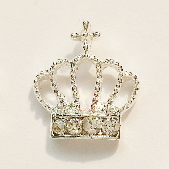 3D silver Alloy Crown Nail Art stickers by iArtSupplies