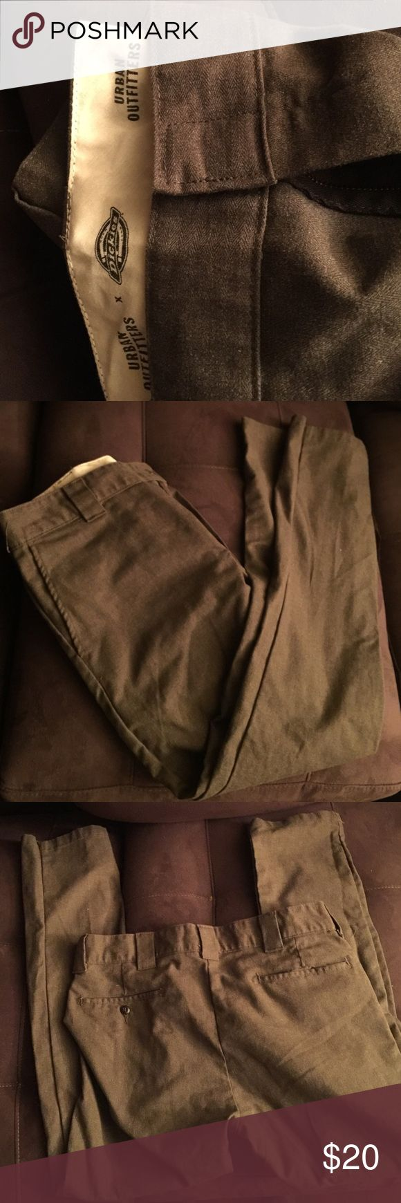 Men's brown urban outfitters pant Brown dickies from urban outfitters. Cotton and polyester mix. Business casual slim taper 34 x 32 Urban Outfitters Pants