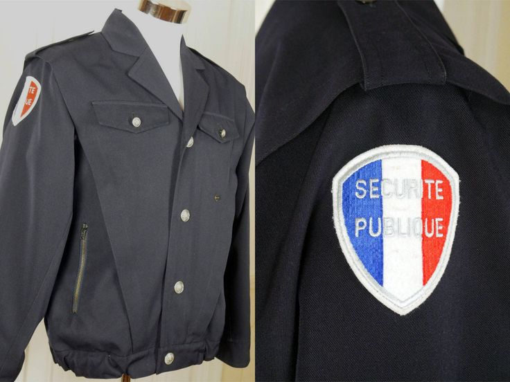 Frech Vintage Police Jacket. Navy Blue European Service Jacket w Patches, Zipper Dark Blue Police Lightweight Jacket: Size M (38 US/UK) by YouLookAmazing on Etsy