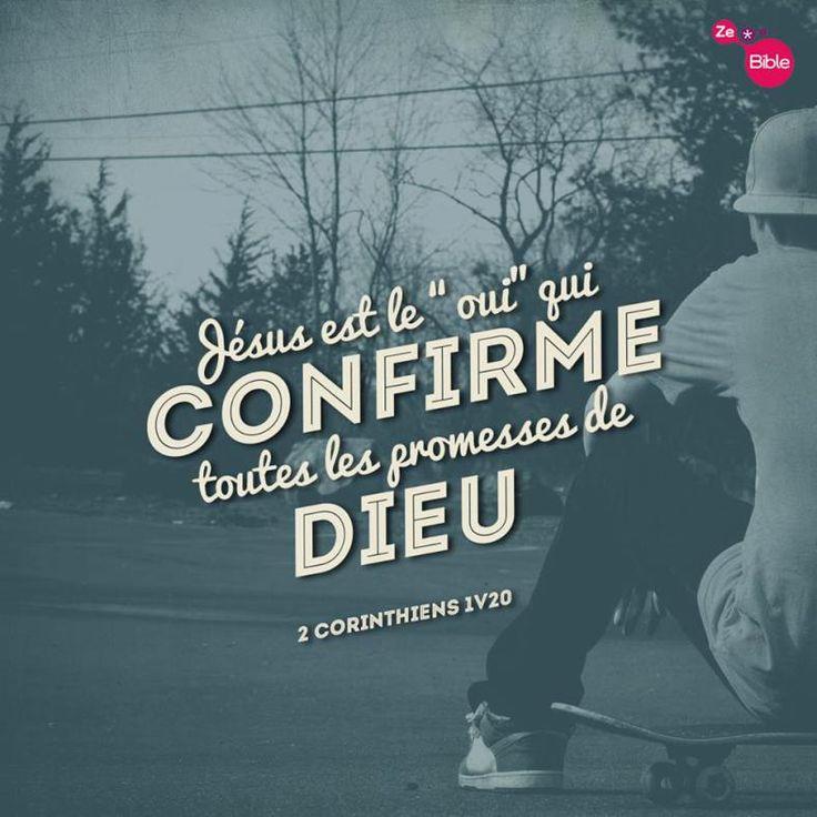 """La Bible - Versets illustrés - 2 Corinthiens 1:20 - Mort et résurrection de Jésus En effet, Jésus, est le """"oui"""" à tout ce que Dieu a promis. C'est donc aussi par Jésus que nous disons notre """"oui"""" à Dieu pour lui rendre gloire."""