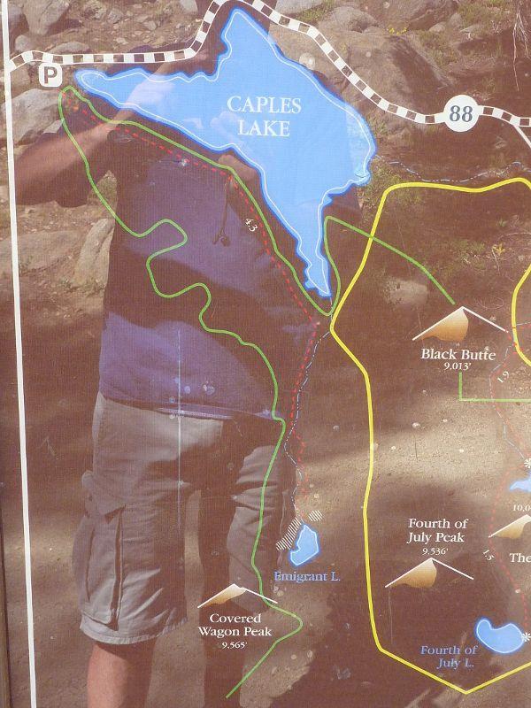 Caples Lake map with surrounding peaks httpwwwaxeleratiocom