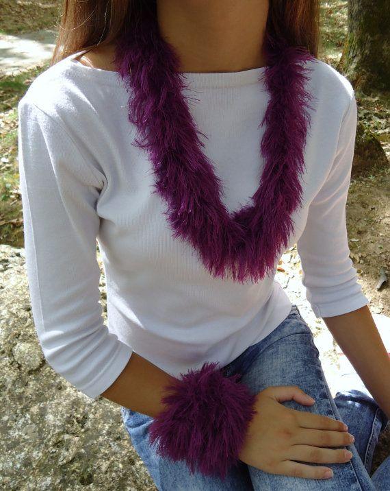 Handmade necklaceknitted tubepurple unusual by PopisBOUTIQUE