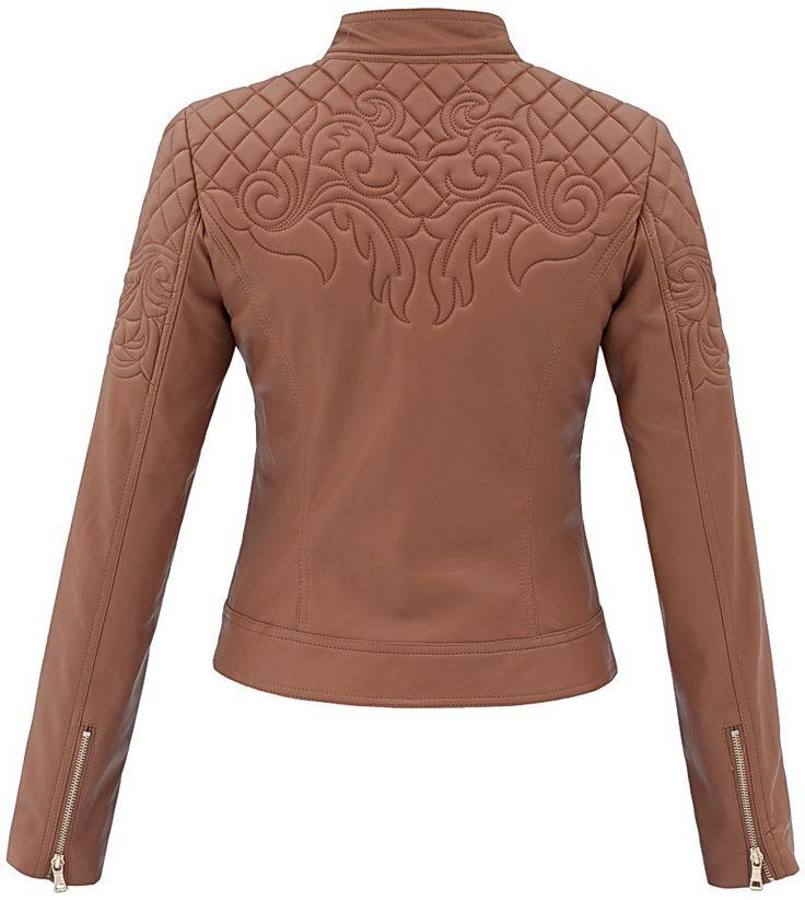 stylizacja kurtka damska pilotka pikowana skóra na motor biker jacket ornamenty model #94 w sklepie fashionavenue.pl