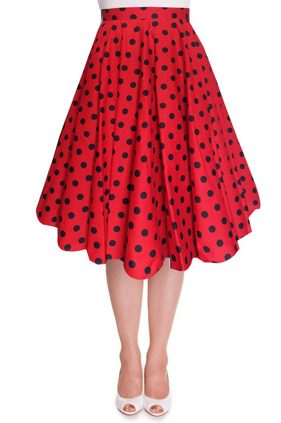 Full Circle Skirt Red Polka Dot Skirt Red by LadyMayraClothing